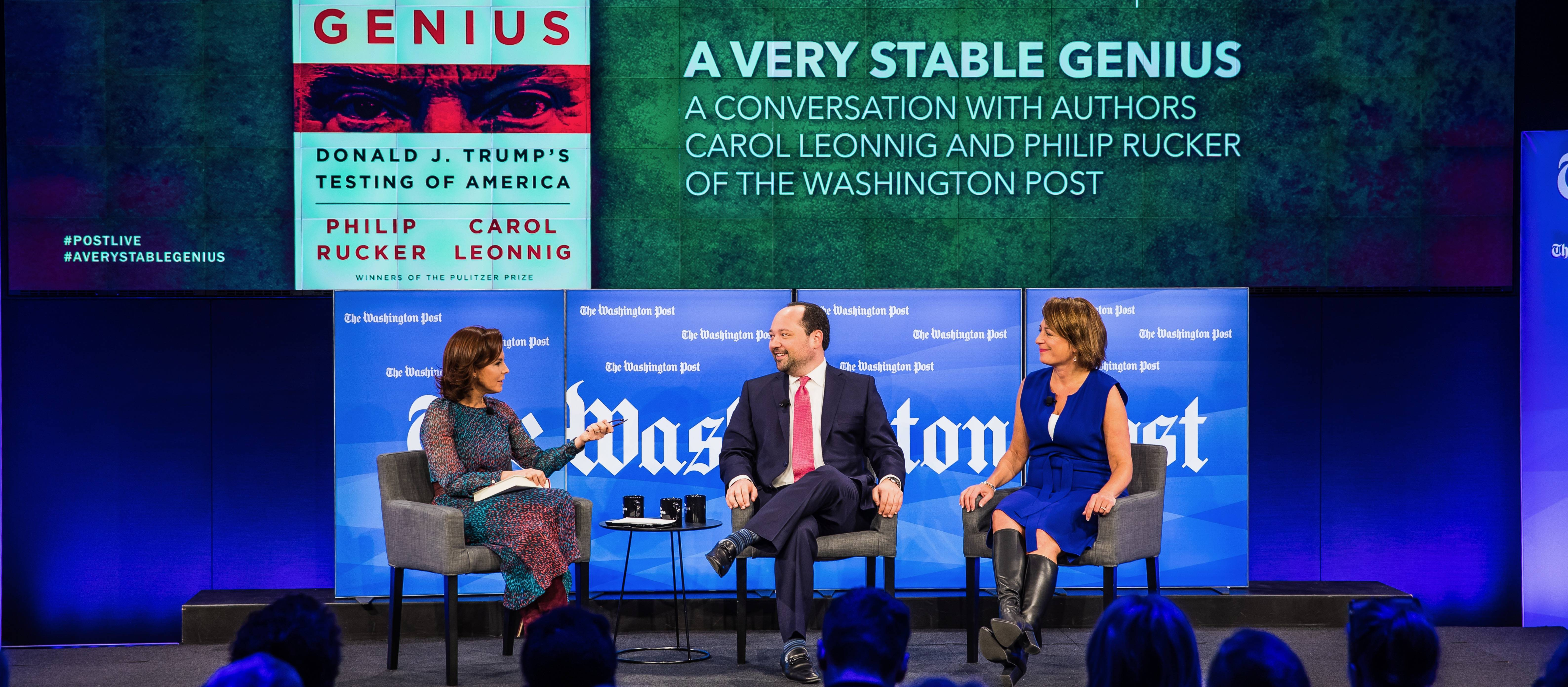 """The Washington Post Live hosts a conversation with The Post's White House Bureau Chief Philip Rucker and National Investigative Reporter Carol Leonnig about their book """"A Very Stable Genius"""" on Jan. 24, 2020. (Kaz Sasahara/The Washington Post)"""