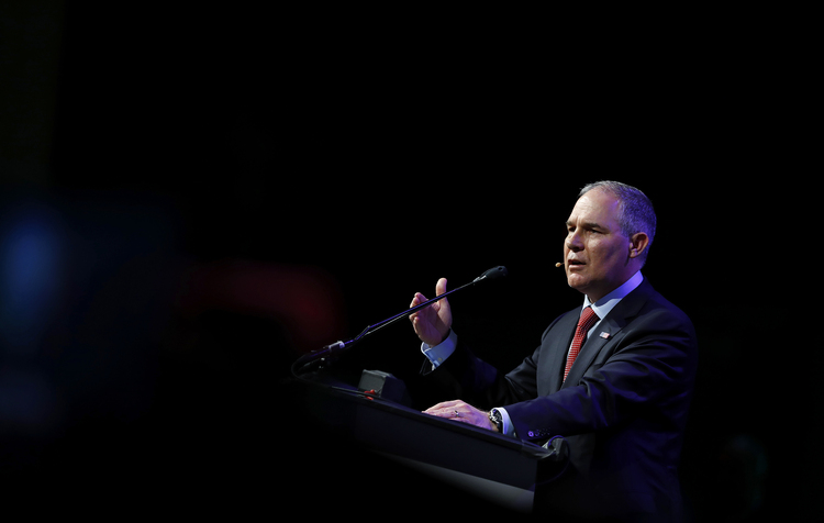 Scott Pruitt, administrator of the Environmental Protection Agency, speaks yesterday at a conference in Houston. (Aaron M. Sprecher/Bloomberg)/p