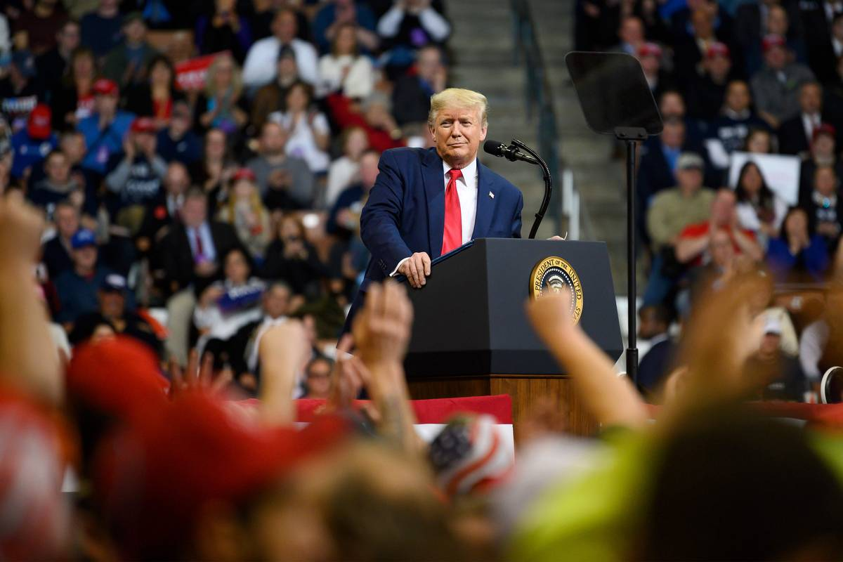 President Trump speaks at a rally Feb. 10 in Manchester, N.H. (Jim Watson/AFP/Getty Images)