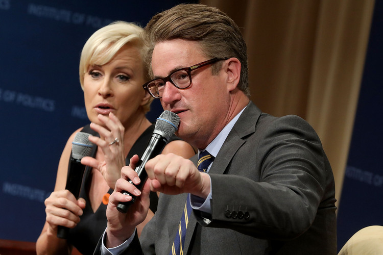 MSNBC 'Morning Joe' hosts Joe Scarborough and Mika Brzezinski are interviewed at the National Archives. (Chip Somodevilla/Getty)