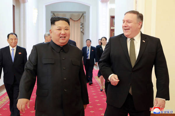 North Korean leader Kim Jong Un and Secretary of State Mike Pompeo before their meeting in Pyongyang on Oct. 7.