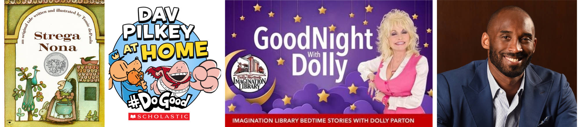 (Simon & Schuster Books for Young Readers; Scholastic; Dolly Parton (Courtesy of Imagination Library); Kobe Bryant (File photo by Andrew D. Bernstein)