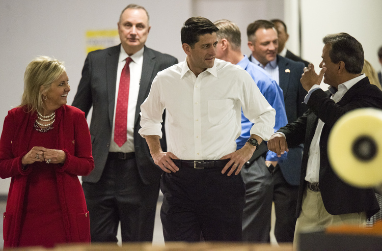 Paul Ryan tours a packaging factory yesterday in New Albany, Ohio. He came to talk about tax reform, but Donald Trump and the firing of James Comeysucked up all the oxygen and made it difficult for him to drive his message. (Ty Wright/Getty Images)/p