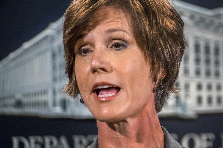 Then-Deputy Attorney General Sally Yates speaks at the Justice Department last year. (J. David Ake/AP)/p