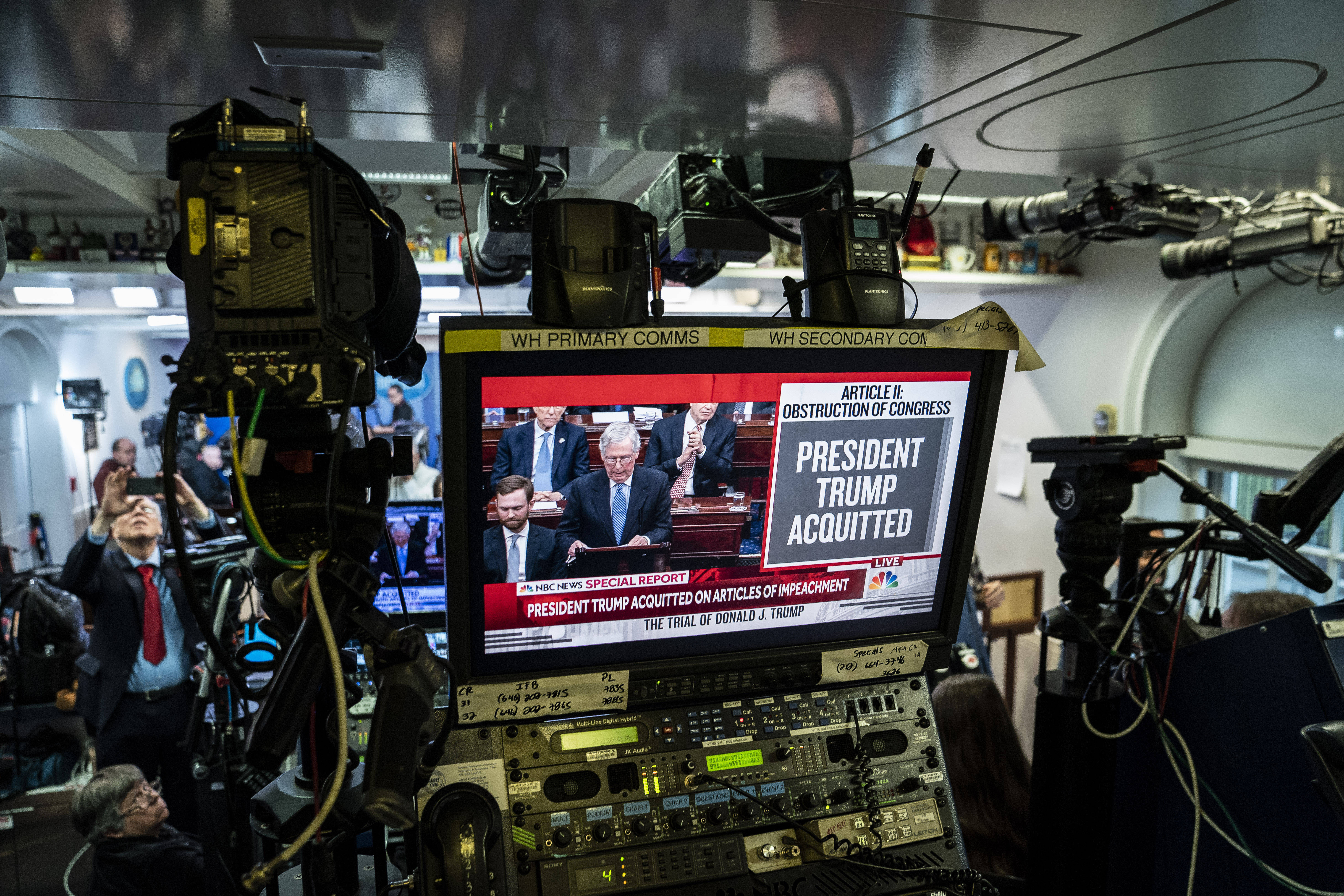 The scene in the White House briefing room Feb. 5 as the Senate votes to acquit Trump on both impeachment charges. (Jabin Botsford/The Washington Post)