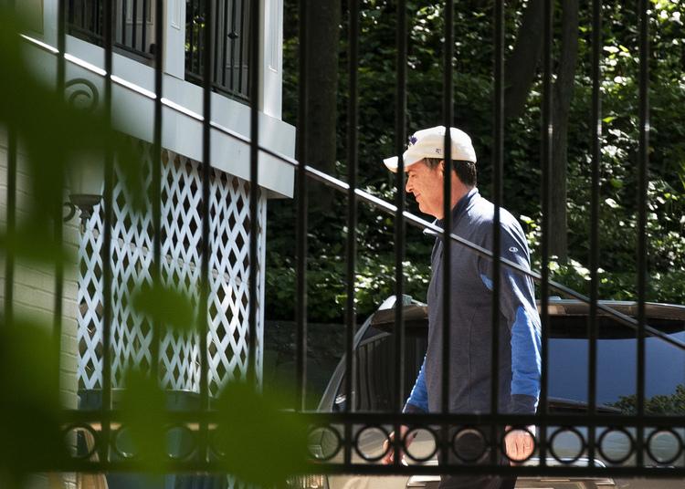 James Comeyhangs out in the backyard of his house in McLean, Virginia. (Sait Serkan Gurbuz/AP)/p