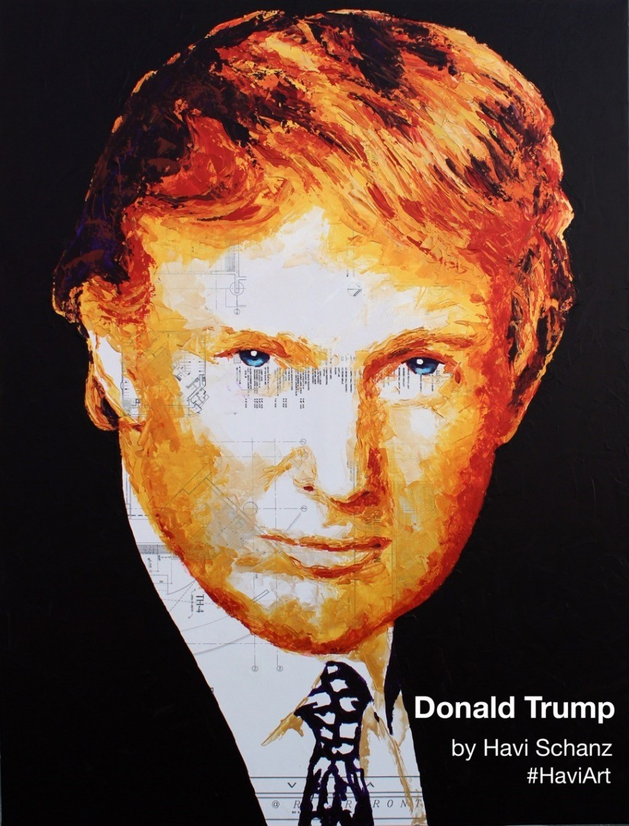 MIAMI, FLORIDA: A painting by artist Havi Schanz of Donald Trump. Trump  used $10,000 of the Trump Foundation's money to buy the portrait of himself.