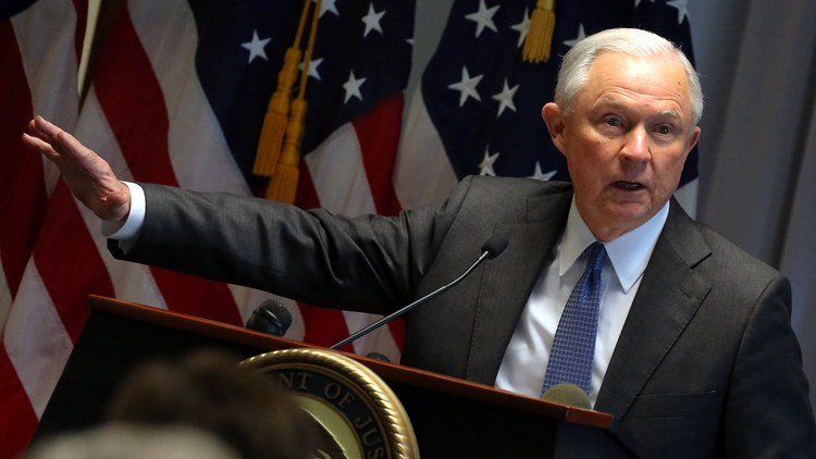 Jeff Sessions speaks at the federal courthouse in Central Islip, New York. (Peter Foley/EPA)/p