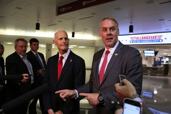 Florida Governor Rick Scott and U.S. Department of the Interior Secretary Ryan Zinke, announce there will be no new offshore drilling in the State of Florida. (Scott Keeler/Tampa Bay Times via AP)