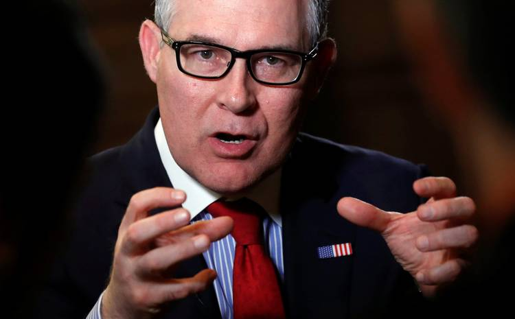 EPA Administrator Scott Pruitt speaks during an interview with Reuters journalists in Washington. (Kevin Lamarque/Reuters)