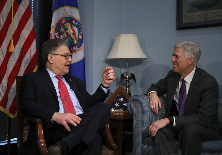 Supreme Court nominee Judge Neil Gorsuch meets with Sen. Al Franken (D-MN) in Franken's office on Wednesday. (Justin Sullivan/Getty Images)/p