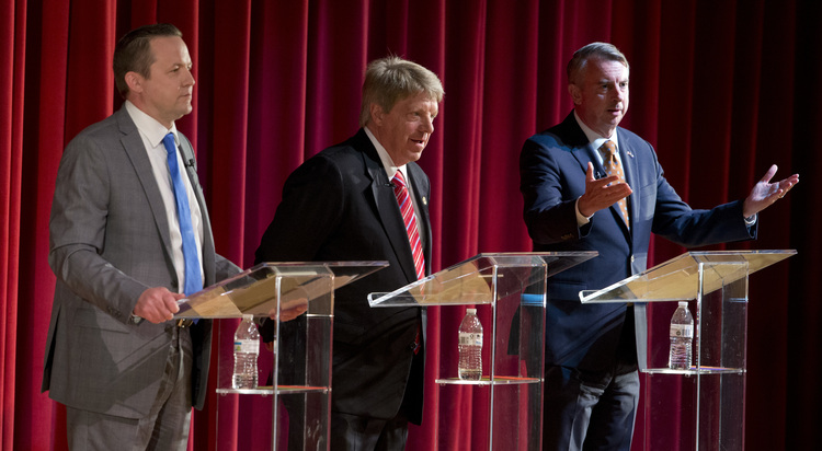 Ed Gillespie participates in a debate with Corey Stewart, left, and state Sen. Frank Wagner, center.(AP Photo/Steve Helber)/p