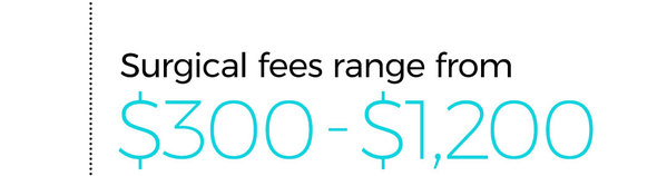Surgical fees range from $300 to $1,200