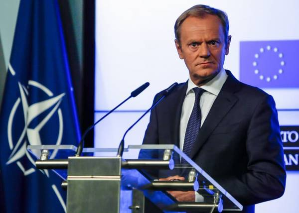 European Council President Donald Tusk holds a press conference in Brussels, on July 10. (Aris Oikonomou/AFP/Getty Images)