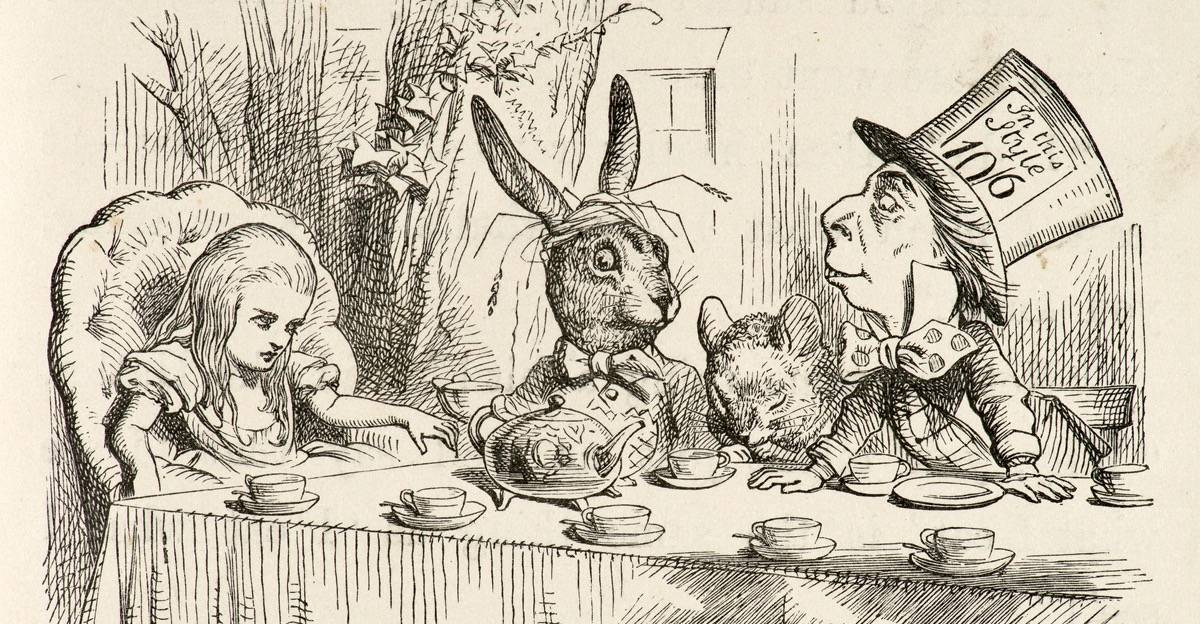 """Alice felt dreadfully puzzled. The Hatter's remark seemed to have no sort of meaning in it, and yet it was certainly English."" – from ""Alice's Adventures in Wonderland,"" by Lewis Carroll; illustration by Sir John Tenniel (1865)."
