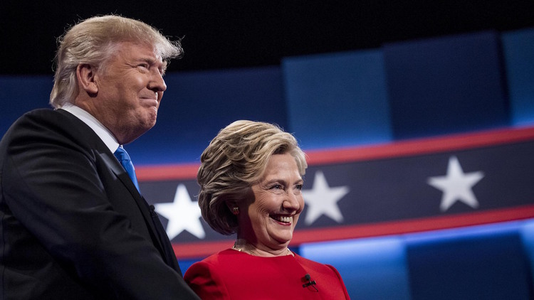 Hillary Clinton and Donald Trump meet for their first debate at Hofstra University in Hempstead, New York.&nbsp;(Photo by Melina Mara/The Washington Post)</p>