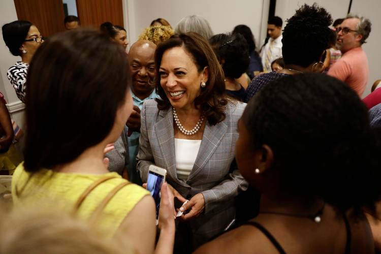 Sen. Kamala Harris (D-Calif.) greets supporters after a general election campaign event with Sen. Bob Casey (D-Pa.) in Philadelphia. (Matt Slocum/AP)