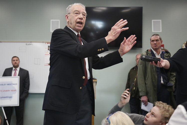 Chuck Grassley speaks to constituents at a town hall in Iowa last month. (Rachel Mummey for The Washington Post)/p