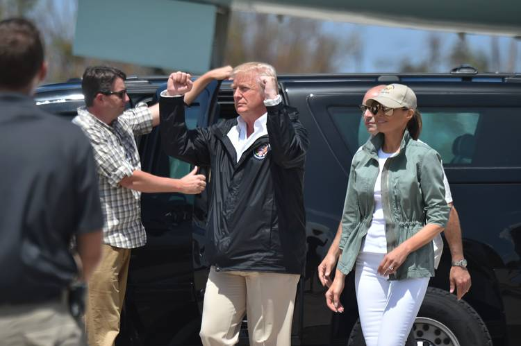 Trump and first lady Melania Trump arrive in Puerto Rico on Oct.3, 2017. (Hector Retamal/AFP/Getty)