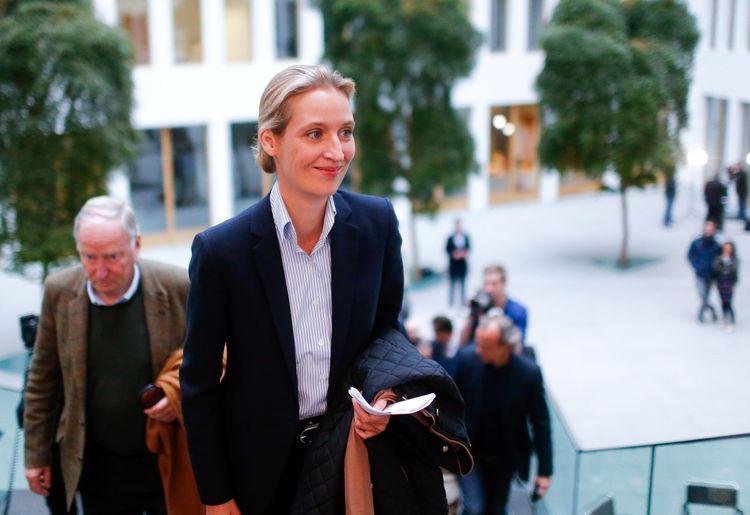 Alice Weidelarrives for a meeting in Berlin. (Reuters/Hannibal Hanschke)/p