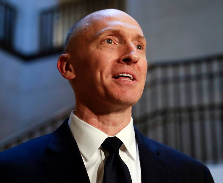 Carter Page speaks with reporters following a day of questions from the House Intelligence Committee on Capitol Hill. (J. Scott Applewhite/AP)