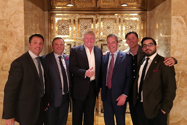 Trump is joined at Trump Tower by UKIP's Nigel Farage, third from right, and Brexit allies, from left, Gerry Gunster, Arron Banks, Andy Wigmore and Raheem Kassam, Breitbart London editor in chief. Kassam says he is overseeing Breitbart's efforts to grow across Europe and into Canada and Australia. (Andy Wigmore)/p