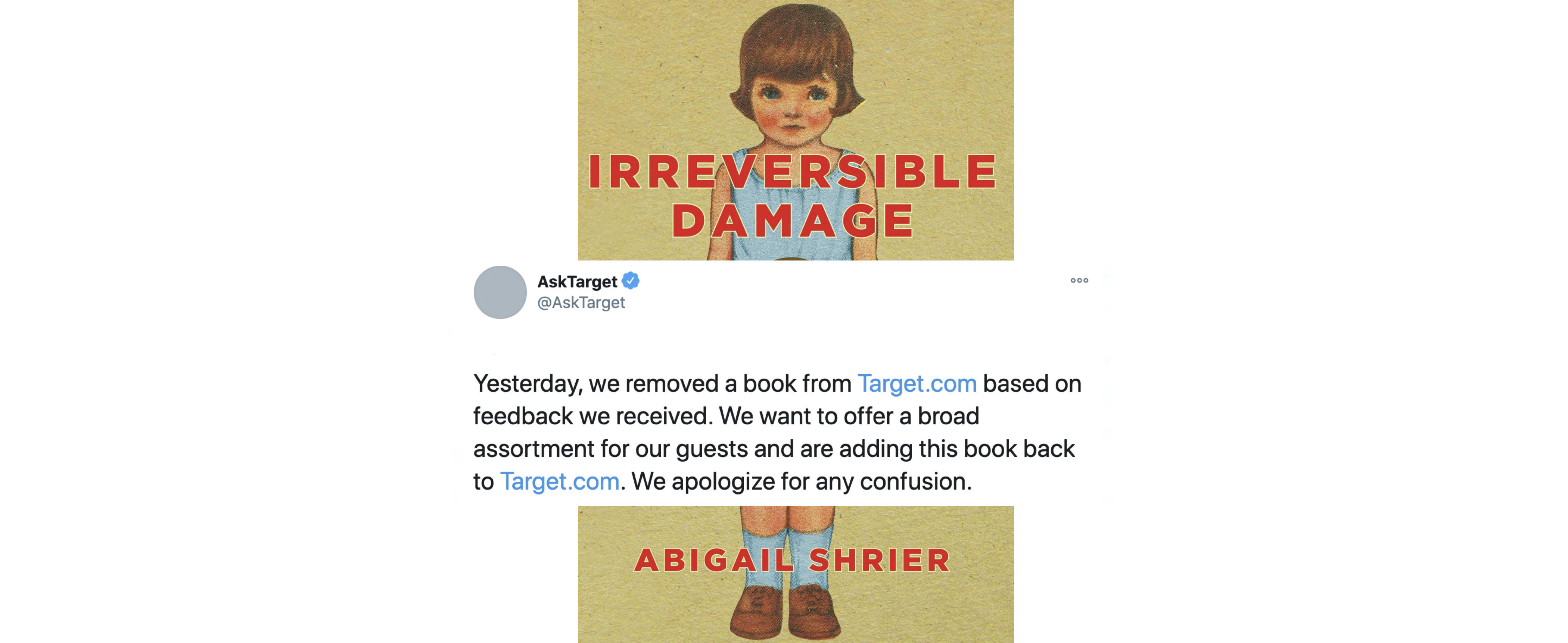 """""""Irreversible Damage: The Transgender Craze Seducing Our Daughters,"""" by Abigail Shrier, experienced a big bounce in sales after Target temporarily stopped selling it. (Regnery Publishing)"""