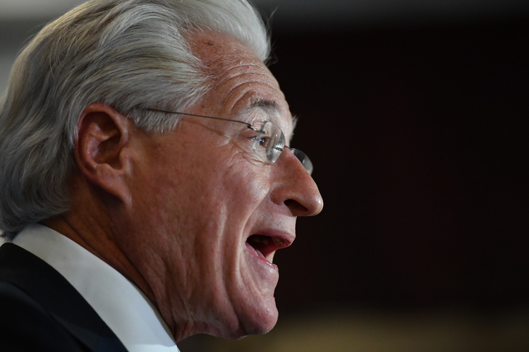 Marc E. Kasowitz, personal attorney for Donald Trump, addresses the media following the testimony of former F.B.I. Director James Comeylast month. (Ricky Carioti/The Washington Post)