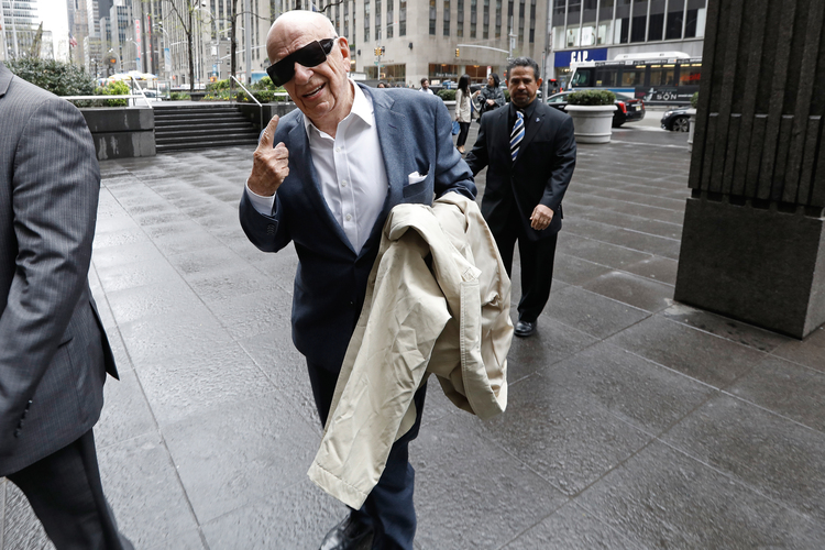 Rupert Murdoch arrives for meetings at News Corp. headquarters in New York on Wednesday. (Peter Foley/Bloomberg)/p