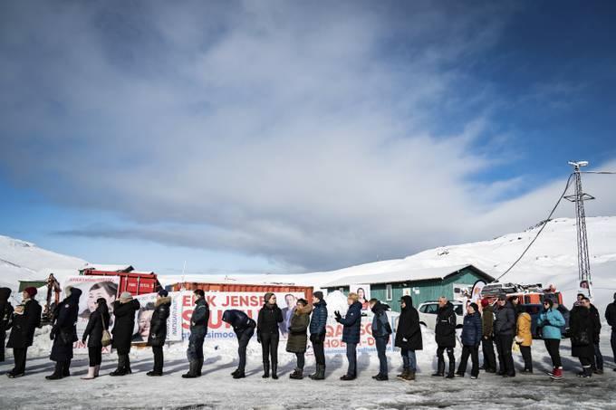People line up to vote in Nuuk, Greenland, on Tuesday. (Emil Helms/Ritzau Scanpix/AP)