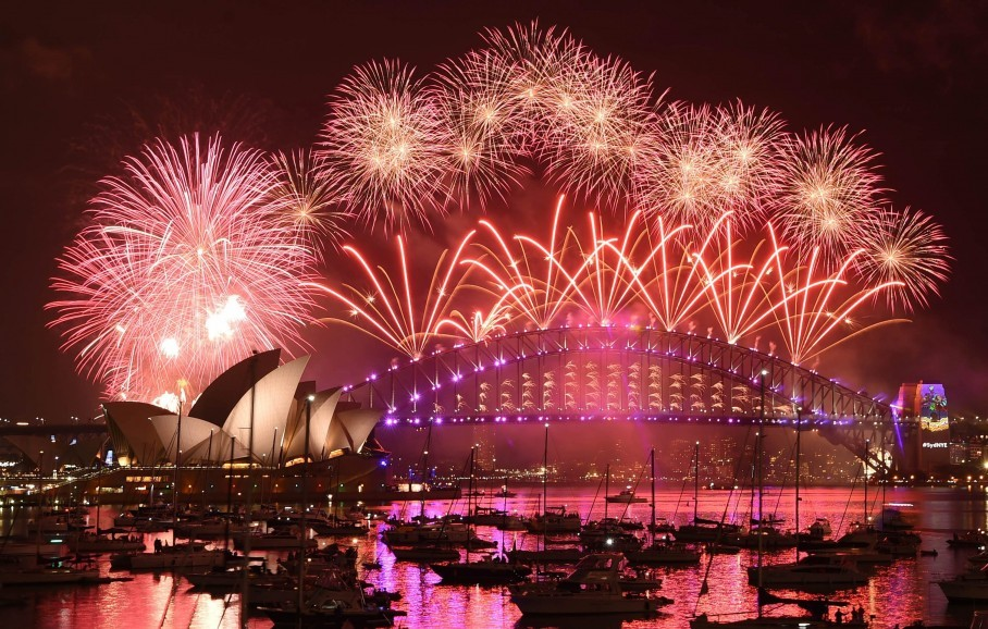 Fireworks illuminate the sky above Sydney Harbor to mark the official start  of 2017. (Mick Tsikas/EPA)