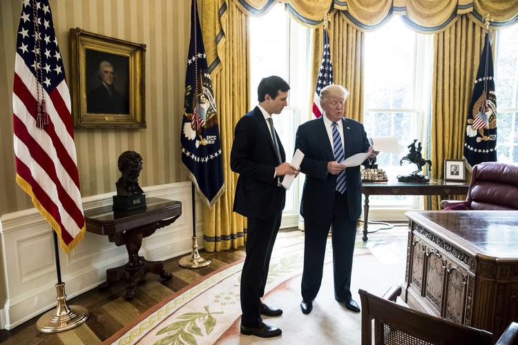 President Trump speaks to White House Senior Adviser/son-in-law Jared Kushner in the Oval Office last Friday. (Andrew Harnik/AP)/p