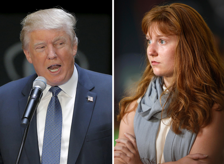 Trump addresses the No Labels Problem Solver Convention in Manchester, New Hampshire, in 2015. Lauren Batchelder listens as Trump answers her question. (Reuters/AP)</p>
