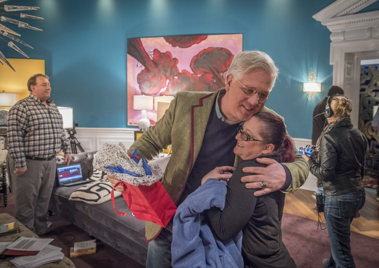 Glenn Beck gives a hug tothe wife of one of his radio co-hosts. (Rex C. Curry/For The Washington Post)/p