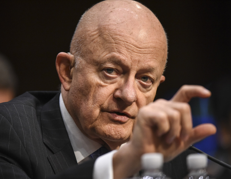 James Clapper testifies before Senate lawmakers in a hearing on Russia's election interference. (Bill O'Leary/The Washington Post)/p