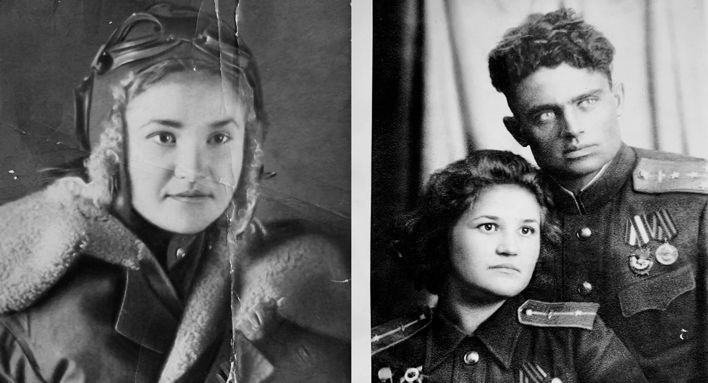 Left: Galina Brok-Beltsova in her days as a navigator in the Soviet women's 587th Bomber Aviation Regiment. (Courtesy of Galina Brok-Beltsova) Right: Brok-Beltsova with the officer she married, Georgy Beltsov. (Courtesy of Galina Brok-Beltsova)