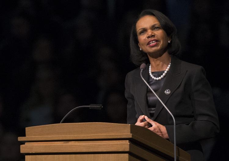 Condoleezza Rice speaks at Notre Dame. (AP Photo/South Bend Tribune, Robert Franklin, Pool)/p