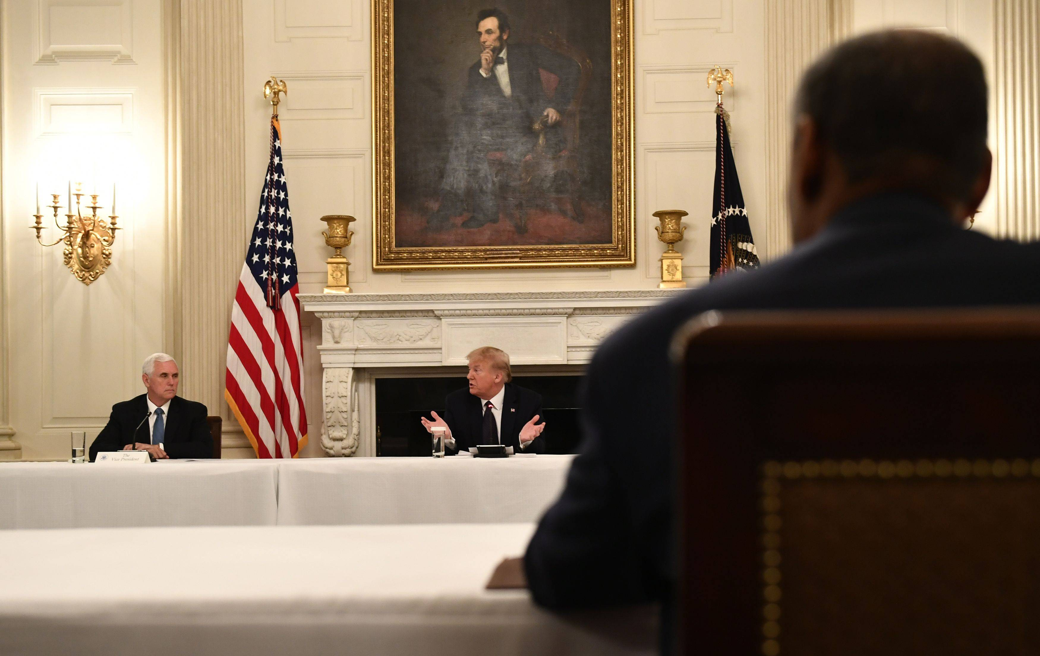 Trump speaks at a coronavirus round table on Monday, a few days after he fired the State Department inspector general without fully explaining why. (BRENDAN SMIALOWSKI/AFP via Getty Images)