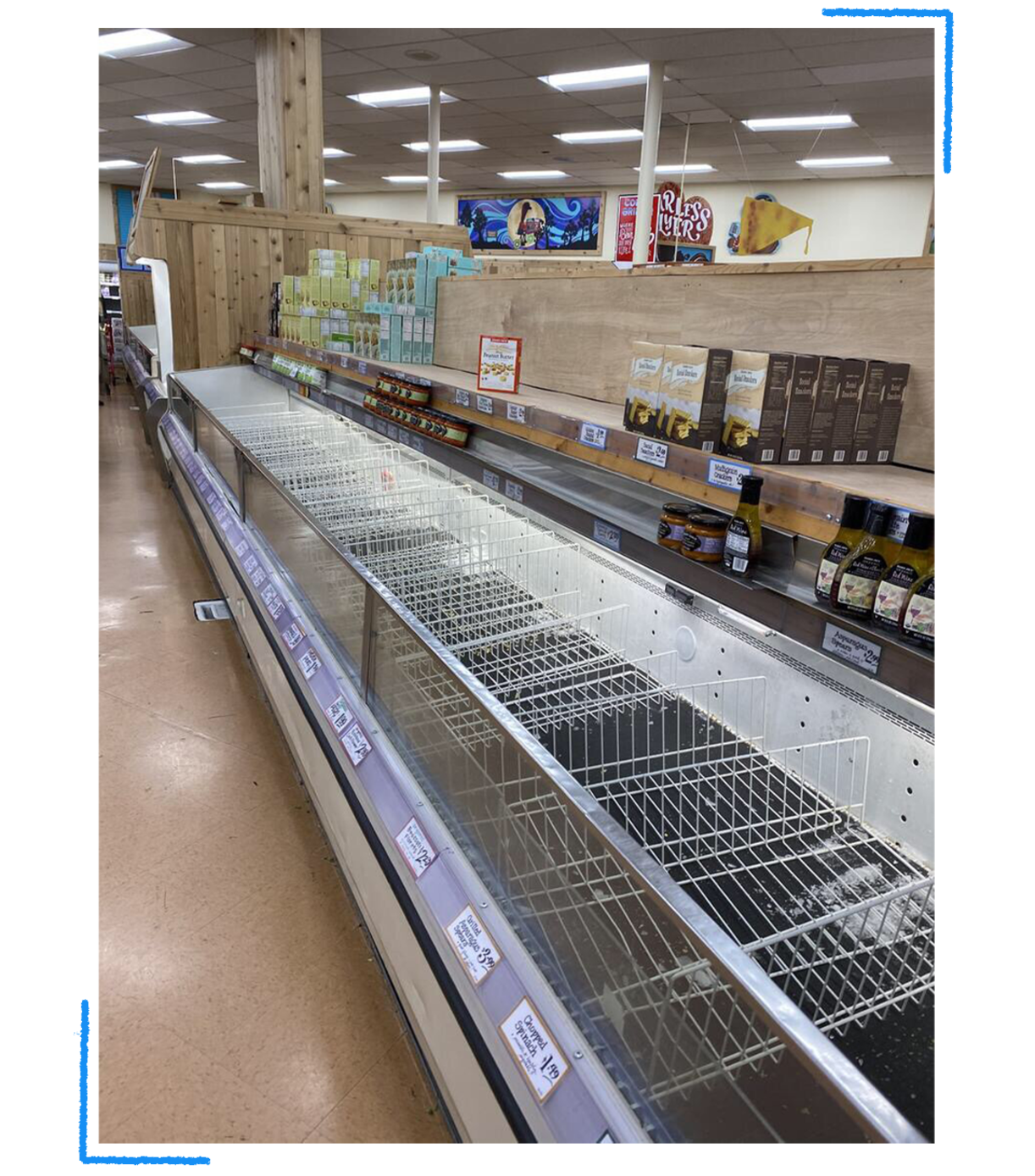 An empty grocery store in the early days of the pandemic in March 2020, Los Angeles. (Courtesy of Selena Vidya)