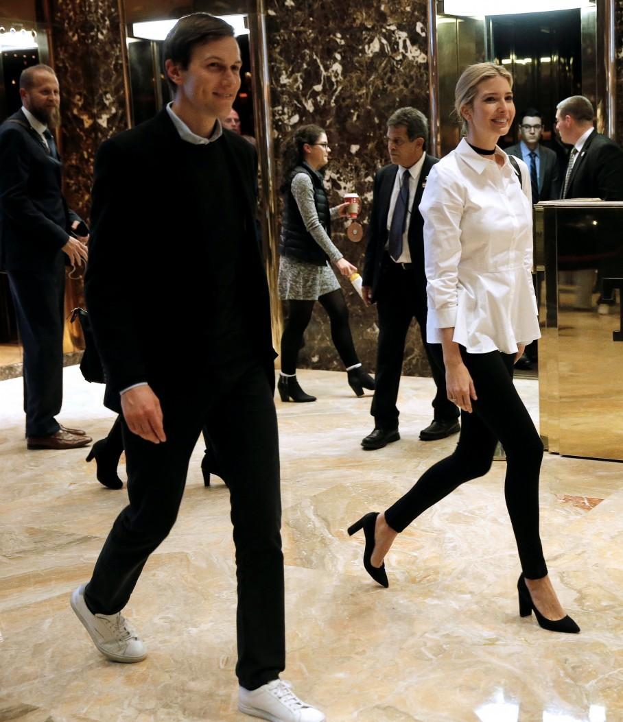 Ivanka Trump walks through the lobby with husband Jared Kushner at Trump  Tower. (Reuters/Mike Segar)