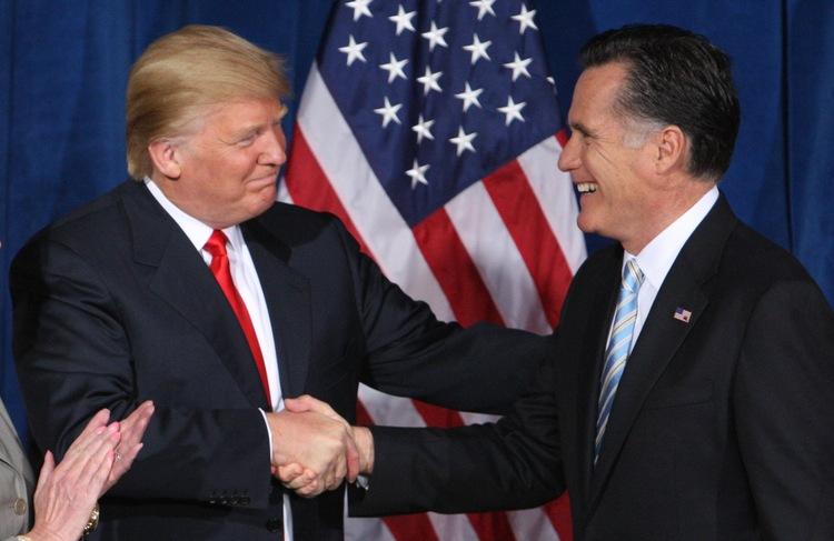 Donald endorses Mitt at the Trump Hotel in Las Vegas in Feb. 2012. (Steve Marcus/Reuters)</p>