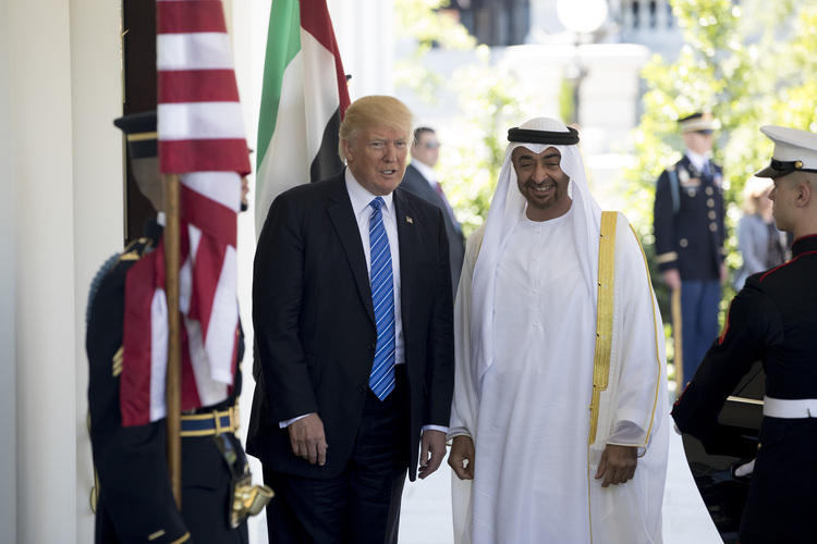 Trump greets Mohammed Bin Zayed Al Nahyan, crown prince of Abu Dhabi, on Monday. (Aaron P. Bernstein/Bloomberg)/p
