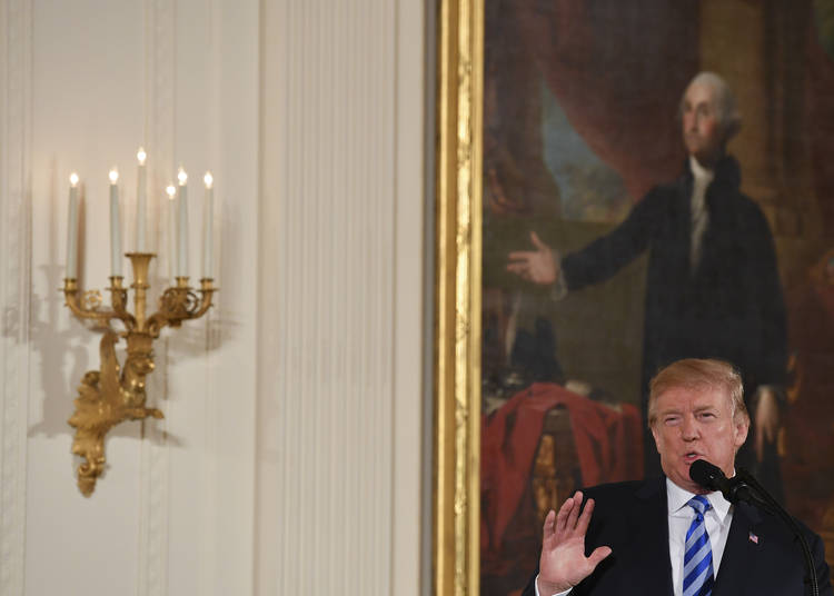 be725269ada President Trump speaks about bump stocks before taking part in the Public  Safety Medal of Valor
