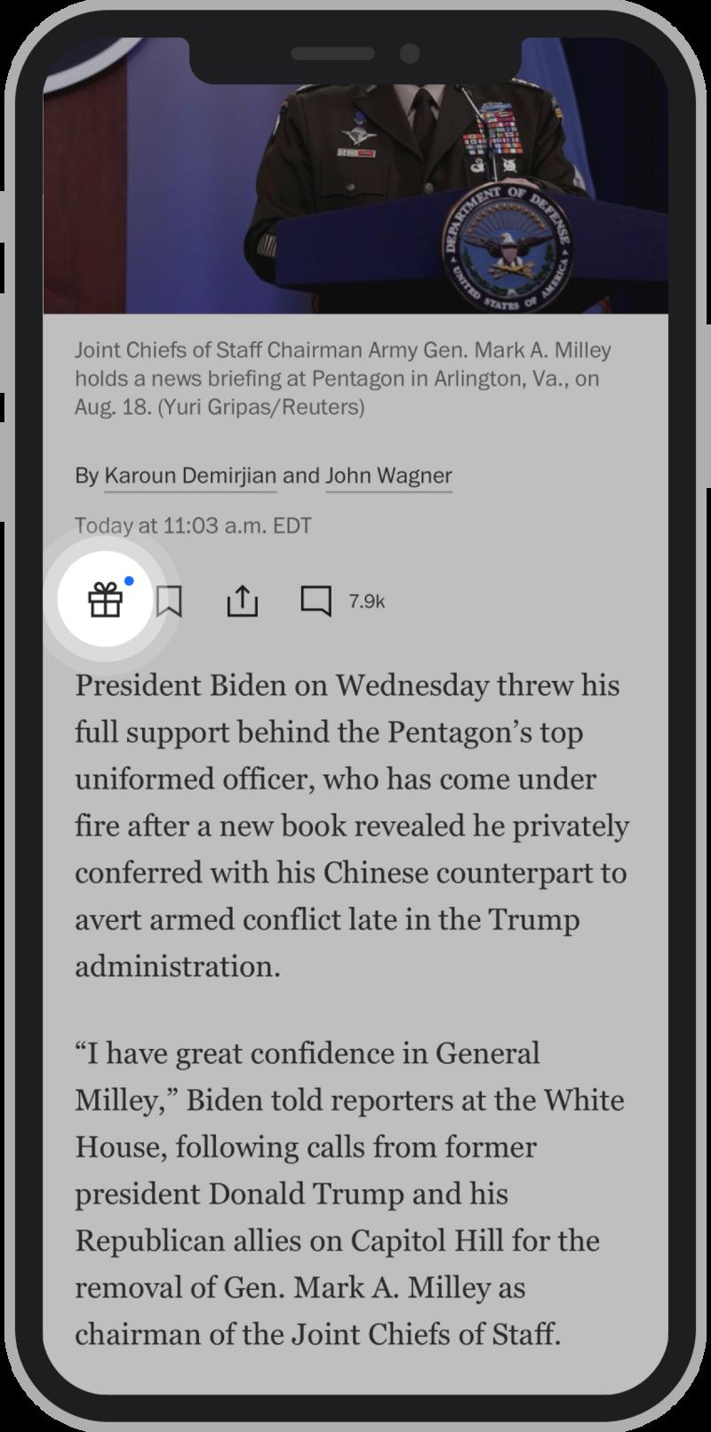 The Washington Post gift article feature screenshot