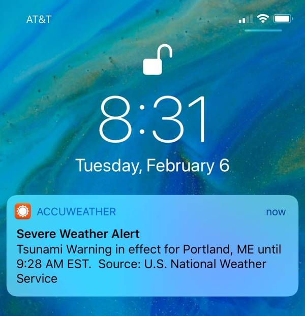 Some people on the East Coast got a push alert on their phones Tuesday, Feb. 6, 2018, about a tsunami warning, but the National Weather Service says it was just a test. (AP Photo/Jeremy DaRos)