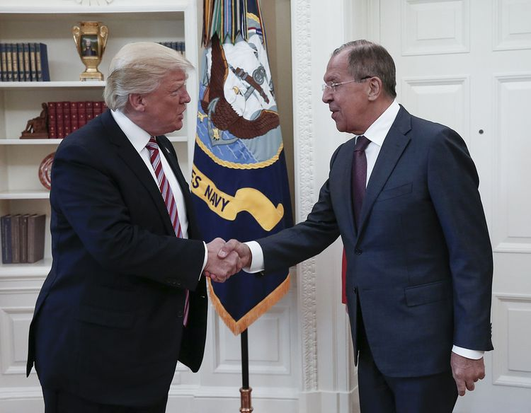 Trump was all smiles with Russian Foreign Minister Sergei Lavrov at the White House the day after he fired Comey. (Handout from the Russian Foreign Ministry/Via AFP)/p