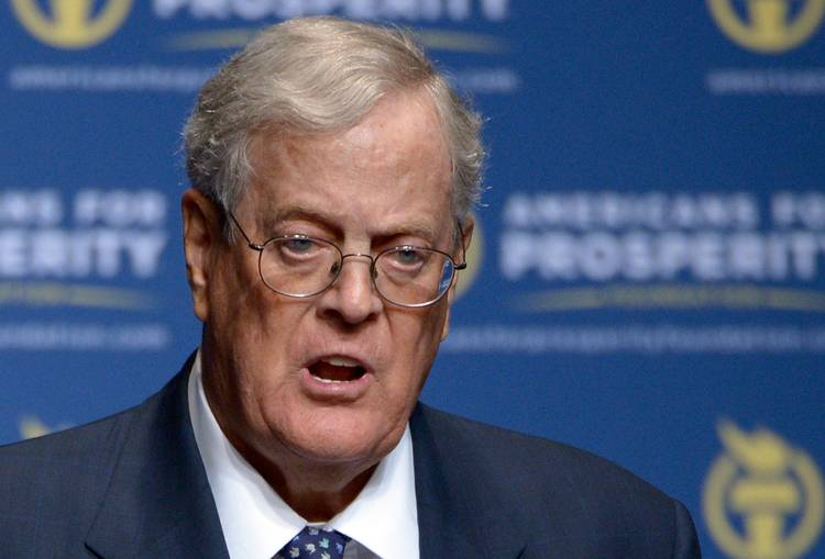 David Koch speaks in Orlando in 2013 at an Americans for Prosperity event. (Phelan M. Ebenhack/AP)