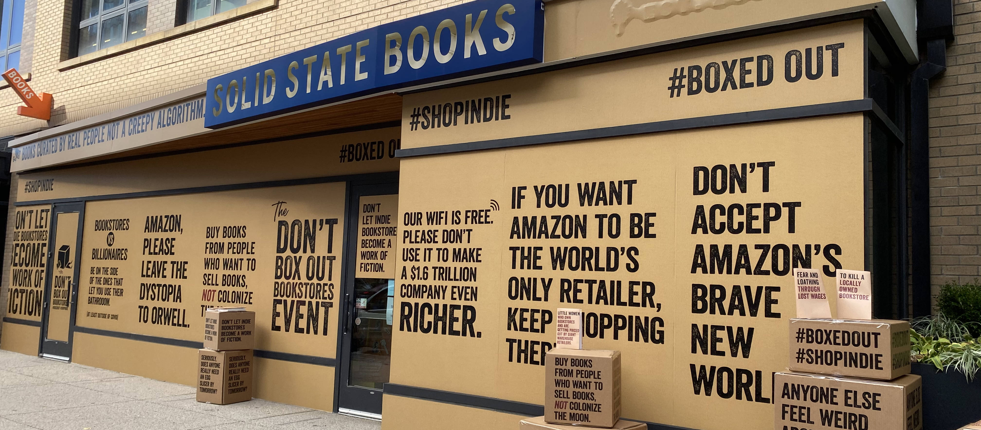 """In October 2020, Solid State Books in Washington participated in the """"Boxed Out"""" marketing campaign, which criticized Amazon's position in the book market. (Courtesy of the American Booksellers Association)"""