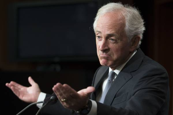 Corker during a Capitol Hill news conference on Sept. 14. (Michael Reynolds/European Pressphoto Agency-EFE)