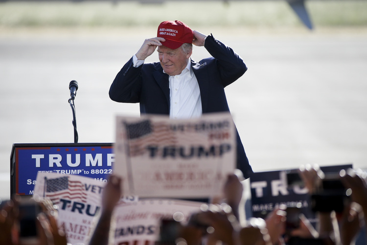 Donald Trump speaks last night at a rally in Sacramento, Calif. (AP Photo/Jae C. Hong)</p>